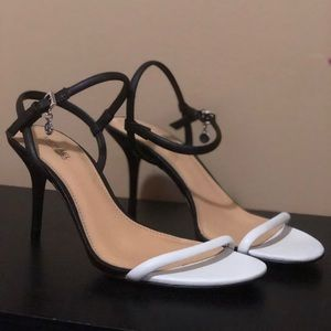 18e225fdda95 Michael Kors Shoes - Michael Kors strappy black and white kitten heel
